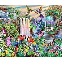 DIYクロスステッチキットダイヤモンド絵画 カラフルなオウムと蝶、動物 ラインストーン ダイヤモンド クリスタル ダイヤモンドペインティングセット 30x40cm