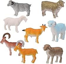ROSENICE Animal Figures 8pcs Plastic Mini Farm Sheep Goat Animal Toys Set
