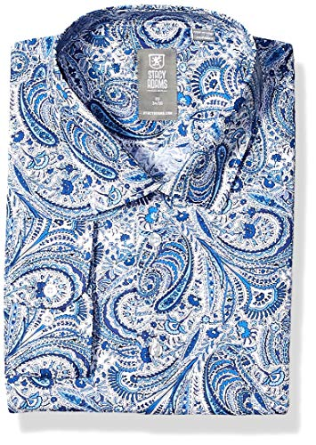 STACY ADAMS Men's Big and Tall Contemporary Modern Fit Dress Shirt, Blue Tonal Paisley, 19' Neck 34-35 Sleeve