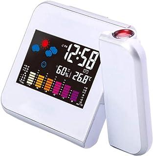 JeeKoudy Despertador digital de LED com projeção de temperatura, termômetro de mesa, hora, data, projetor, calendário, car...