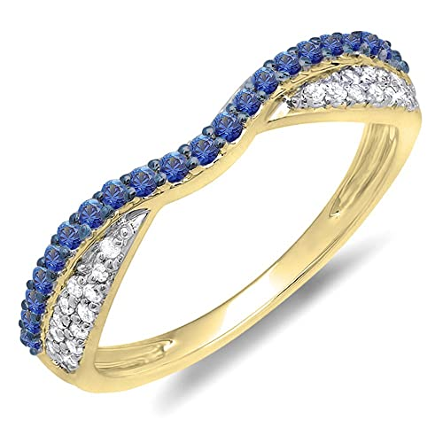 Real Gold Wedding Rings With Blue Diamonds Amazon Com