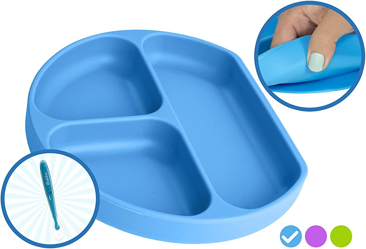 Babiere Silicone Toddler Plate Powerful Suction Base Stays Put To Highchair Grip Dish With Divided Sections BPA Toxin Free Microwave Freezer Safe Free Silicone Baby Spoon Blue
