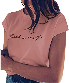 SADUORHAPPY Women's Letter Print Short Sleeve T-Shirt Top Thank U Next Cool Trendy Tee Shirt