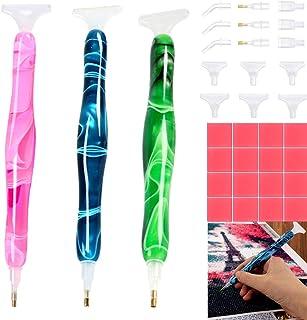 3 Pcs Diamond Painting Pen,Handtmade Resin Purple Drill Point Pen for 5D DIY Diamond Painting Hobby, Diamond Art Accessori...