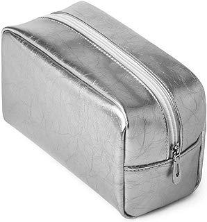 Makeup Bag, Buyagain PU Cosmetic Bag Organizer for Women Girl Travel Silver