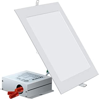 SAYHON 8 inch Ultra-Thin Square Recessed Lighting with Junction Box,18W 6000K Daylight White,Non-Dimmable Low Profile Ceiling Light Kit Downlight for Office/Commercial Lighting/Kitchen/Hallway/Home
