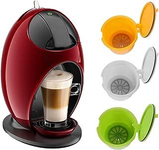 ALLOMN BPA Free Refillable for Dolce Gusto Reusable Coffee Capsules for Nescafe Genio Piccolo Esperta Circolo 3 Pack (Yellow+Green+White)