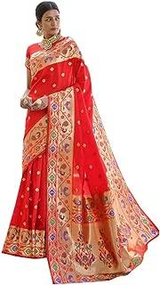 Indian Ethnic Wedding & Party Saree Pure PAITHANI Kaarigari Silk Sari Women Blouse Heavy Zari Pallu 8331 (Red)