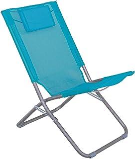 LOLAhome Silla de Playa con cojín reposacabezas Azul de textileno de 59x49x76 cm