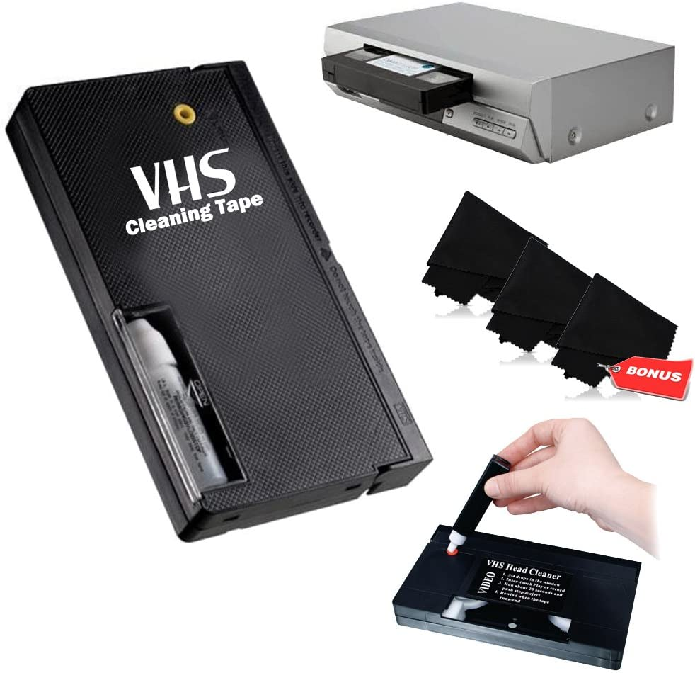 VHS Video Wet Head Cleaner Tape + 3 Microfiber