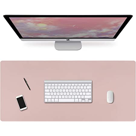 Schreibtischunterlage Laptop Tischunterlage 90cm X 40cm Groß Pu Leder Gaming Mauspad Wasserdichte Schreibunterlage Für Büro Oder Heimbereich Doppelseitig Rosa Silber Bürobedarf Schreibwaren