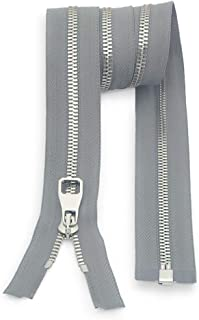 "2PCS Metal Zipper #5-Glossy Separating Jaket Zippers for Sewing 28 Inch-Heavy Duty Coats Zippers-VOC Zipper One Way Open Bottom-Light Grey Tape with Sliver Teeth(28""2PCS)"