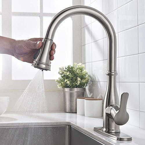 wholesale OWOFAN Kitchen Faucet outlet online sale Single outlet sale Handle Stainless Steel Brushed Nickel Pull Down 3 Function Spray Head Kitchen Sink Faucet with Pull Out Sprayer sale