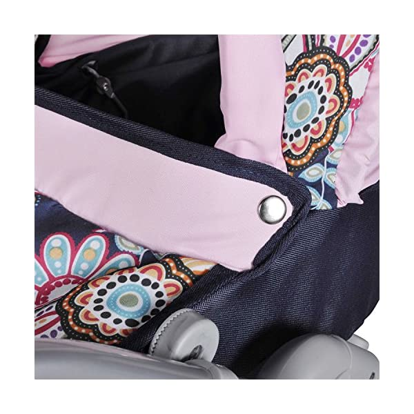 Knorrtoys 90778 Blue Flowers knoortoys Doll Carriage Coco Knorrtoys Height adjustable handle (43-82 cm) Purchases can be stored in the shopping basket Used as a pram with carrycot or sports buggy it always looks great 7