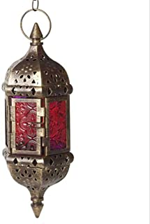 """Glass Metal Moroccan Candle Holder Vintage Hanging Lantern with 17.3"""" Hanging Chain (Brown)"""