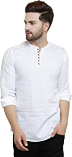 Pacman White Kurta Styled Slim Fit Smart Mens Casual Shirt SHFS0047