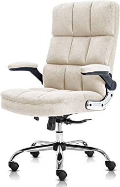 Chaise de Bureau pivotante avec accoudoirs rabattables, Hauteur réglable avec Design Ergonomique Beige