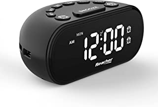 REACHER LED Digital Alarm Clock with 2 USB Ports, Dual Alarm with 5 Volume Adjustable Natural Sounds, 0-100% Dimmer, Snooz...