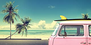 Culturenik Arists Version of Volkwagen Surfer Pink Kombi Van Vintage Car Beach Sport Photography Print Not associated with VW.(Unframed 12x24 Poster)