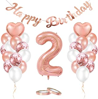 Rosa 40 Zahlen Luftballon 2 Geburtstag M/ädchen Kindergeburtstag Dekoration mit Happy Birthday Girlande Folienballons Torten Topper Tischdecke f/ür Baby Shower Deko MMTX Geburtstagsdeko M/ädchen 2Jahr