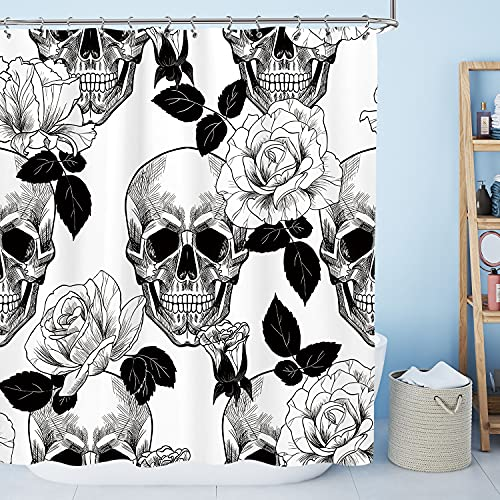 AMBZEK Floral Sugar Skull Shower Curtain 60Wx72L Inch Black White Gothic Halloween Bathroom Decor Goth Rose Skeleton Spooky Flowers Gifts for Men Artwork Fabric Bath Accessories Set with 12 Pack Hooks