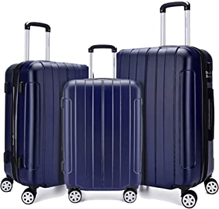 Fochier 3 Piece Expandable Spinner Luggage Set Hard Shell Lightweight Suitcase Navy Blue