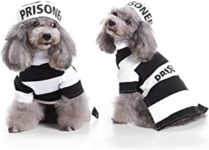 YOUDirect Prisoner Dog Costume Puppy Jail Cosplay Dog Halloween Costume with Hat for Small Dogs Funny Photo Props Accessories