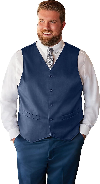 KS Signature by Kingsize Men's Big & Tall Easy Movement 5-Button Suit Vest - Big - 56, Navy