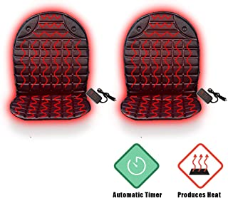 VaygWay Heated Car Seat Cushion – 12V Car Seat Heater Warmer - Heated Seat Cushion for Car – Adjustable Temperature and Timer Remote 2 Pk