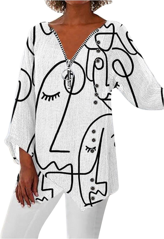 PLENTOP safety Womens Floral 3 4 Sleeve Shirts Zip up Graff Denver Mall V Neck Work
