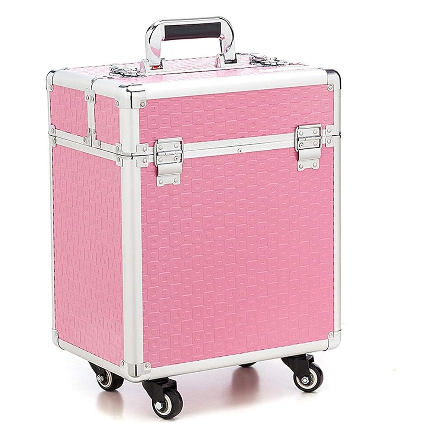 キャスト調べる吸収化粧オーガナイザーバッグ 360度ホイール3イン1プロフェッショナルアルミアーティストローリングトロリーメイクトレインケース化粧品オーガナイザー収納ボックス用ティーンガールズ女性アーティスト 化粧品ケース (色 : ピンク)