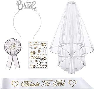 'Bride to Be Sash and Slow', AivaToba möhippa festaccessoar med strasstiara, bricka, tatueringar, möhippa tillbehör för mö...