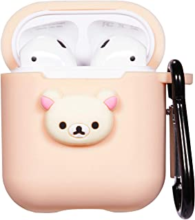 Logee Yellow Bear Case for Apple Airpods Charging Case,Cute Silicone 3D Cartoon Airpod Cover,Soft Protective Accessories Kits Skin with Carabiner,Character Cases for Kids Teens Girls Guys (Airpods)