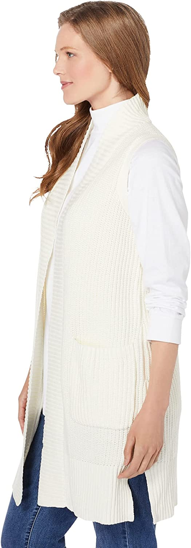 Woman Within Women's Plus Size Open Front Shaker Sweater Vest