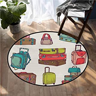 Doodle Kids Floor mats Colorful Suitcases Holiday Inspired Design Travelling Abroad Vintage Style Artwork Dining Table Rugs D60 Inch