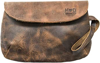 Chic Leather Clutch Bag Handmade by Hide & Drink :: Bourbon Brown