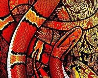 数字で描くアクリル絵の具の色原稿ヘビの鱗飾り模様絵絵リビングルームアクリルユニークチャイルドギフトリネン装飾アート カスタマイズ可能 50x65cmフレームなし