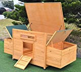 Omitree New 69' Wood Hen Chicken Duck Poultry Hutch House Coop Cage with 4 Nesting Boxes