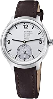 Mondaine Men's Helvetica Stainless Steel Quartz Watch with Leather Strap, Brown, 20 (Model: MH1B2S80LG)