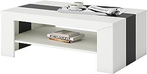 IDIMEX Table Basse Lyon, Table de Salon rectangulaire avec 1 étagère Espace de Rangement, en mélaminé Blanc Mat et Noir Mat