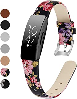 MEFEO Compatible with Fitbit Inspire Bands/Inspire HR Band, Genuine Leather Slim Soft Strap Wristbands Accessories Replacement for Fitbit Inspire Fitness Tracker