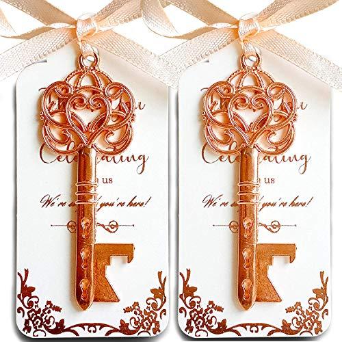 25 Rose Gold Key Bottle Opener Wedding Favor with Tag Rose Gold Foil Stamping Thank You Escort Card Skeleton Key Bottle Opener Bridal Shower Favors for Guests Party Favor Gifts Light Peach Ribbon