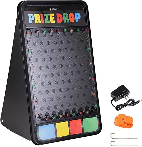 ZeHuoGe Customizable Prize Drop Board Game With LED Light 12 Pucks Carnival Party Trade Show 25 3 16 X 23 5 8 X 40 3 4 64 X 60 X 103 5 Cm Holiday Activities US Delivery