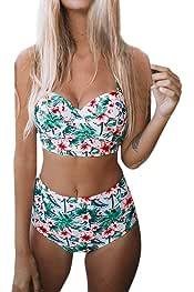 Conjunto de Bikini Ronamick,Bikini para Mujer Push-Up Pad Ba/ñador Conjunto de Ropa de Playa Conjunto de Traje de ba/ño de Split de impresi/ón de la Mujer(L,GN
