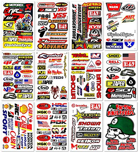 Motocross Dirt Bike Motorcycle Car Motos Bikes Motorex Race ATV Skateboarding Sponsor Performance Tool Part Garage Toolbox Racing Pack 12 Sheet Vinyl Graphics Decals and Stickers Set D1200 Best4Buy