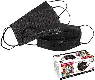 HINCINK マスク 50枚 3層構造 ますく 使い捨 不織布てマスクPM2.5 防水抗菌 男女兼用 大人用 花粉対策 フィルター 防護マスク (ブラック)