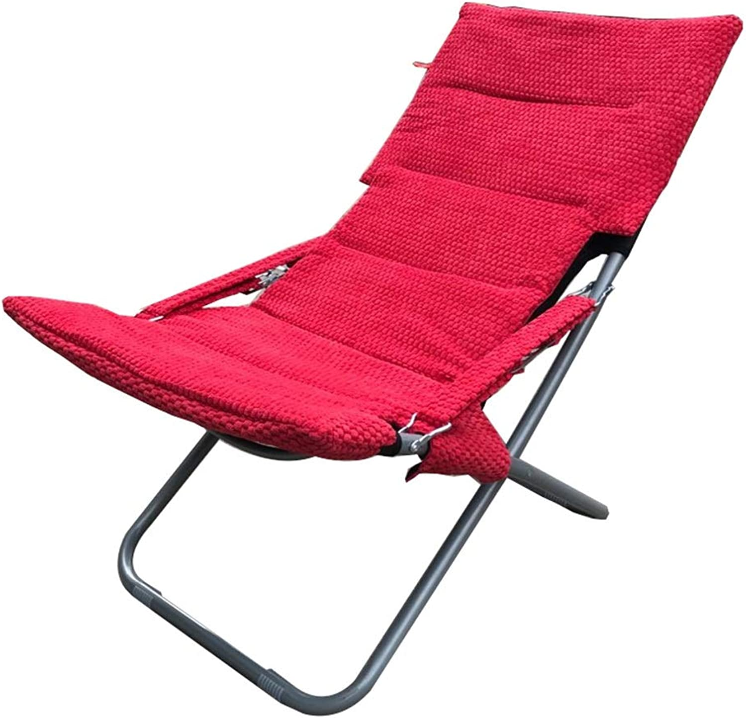 Recliner Household Indoor and Outdoor Patio Lazy Chair Lawn Camping Deck Outdoor Lounge Chair (color   Red, Size   A)