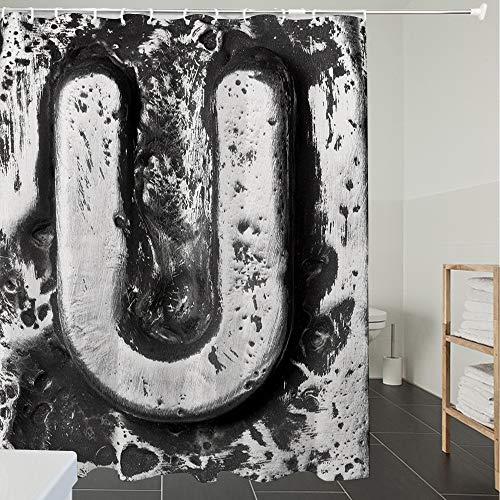 Derun Duschvorhänge, Textil Bad Vorhang aus Polyester, Anti-Schimmel, Buchstabe U, alte stilisierte U-Schriftart große Buchstaben verstreut symbolische,Blickdicht, Wasserdicht, Waschbar, 120X180CM