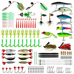 Rose Kuli Fishing Lures Baits Tackle Kit, Crankbaits, Spinnerbaits, Topwater Lures, Fishing Spoons, Plastic Worms, Jigs, Fishing Hooks, Tackle Box and More Fishing Gear Lure