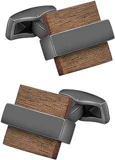 طقم أزرار أكمام للرجال مصنوعة يدويًا من الخشب الطبيعي للرجال مناسبة لحفلات الزفاف من مستر فان